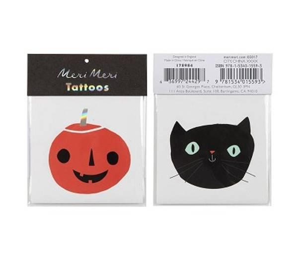 Bilde av TATOVERING - Halloween - Gresskar og Katt - Meri Meri