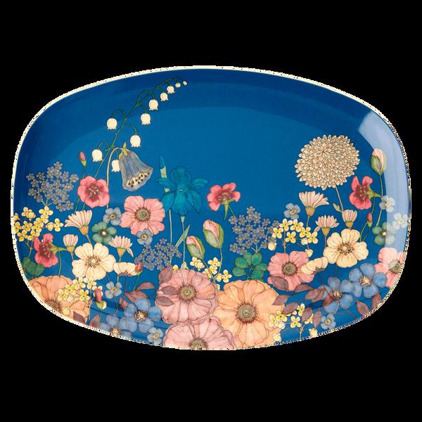 Bilde av REKTANGULÆR TALLERKEN - Flower Collage Print - Rice